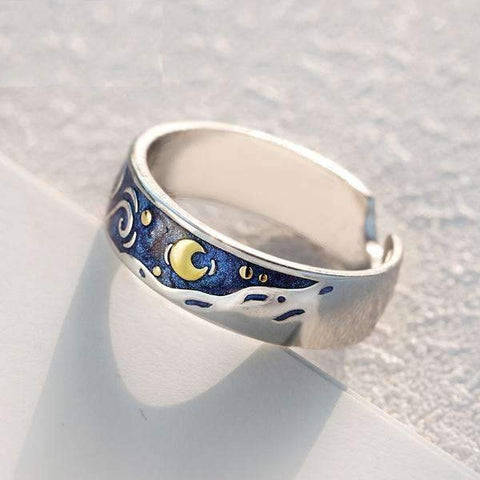 Van Gogh Starry Sky Couple Rings-Rings-Resizable-Large ring-InCrate.store