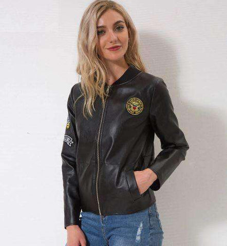 Faux Leather Biker Jacket-Women's Clothing-Black-S-InCrate.store