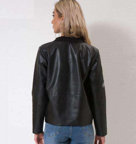 Image of Faux Leather Biker Jacket-Women's Clothing-Black-S-InCrate.store