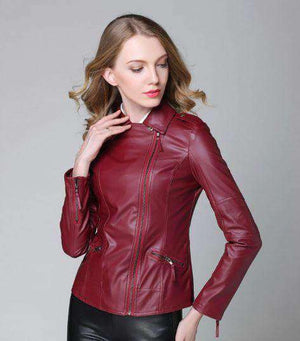 Elegant Leather Jacket-Women's Clothing-WINE RED-S-InCrate.store