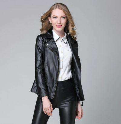 Elegant Leather Jacket-Women's Clothing-Black-S-InCrate.store