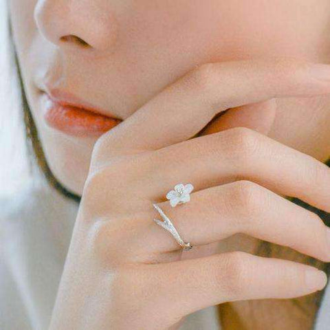 Image of White Cherry Blossom Silver Ring-Rings-Resizable-White Cherry-InCrate.store
