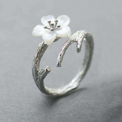 White Cherry Blossom Silver Ring-Rings-Resizable-White Cherry-InCrate.store