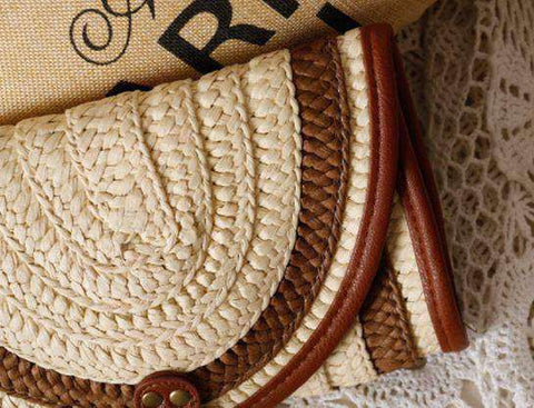 Image of Balinese Style Straw Knitted Handbag-Bags-Blue-InCrate.store