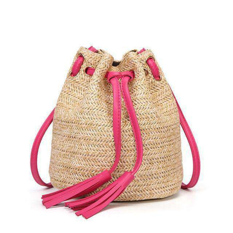 Straw Bucket Bag-Bags-Red-InCrate.store