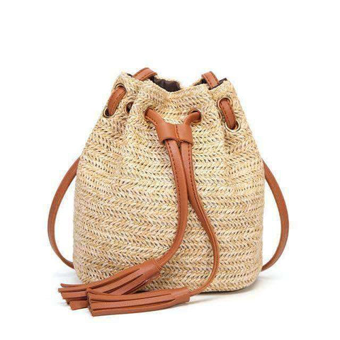Straw Bucket Bag-Bags-Brown-InCrate.store