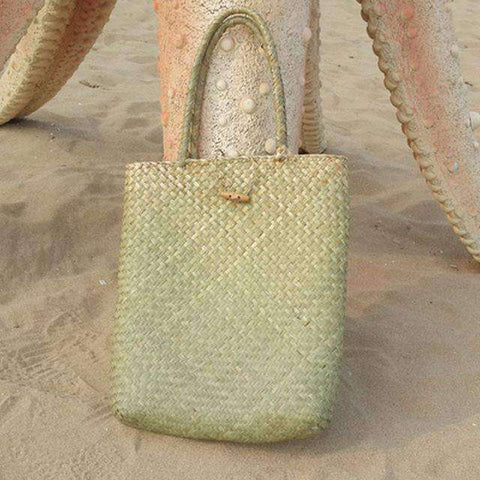 Women Straw Woven Tote-Bags-GREEN-InCrate.store