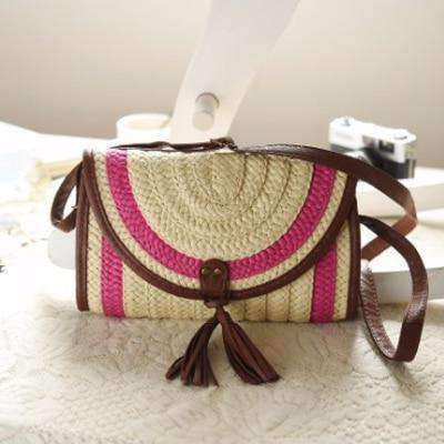 Balinese Style Straw Knitted Handbag-Bags-Pink-InCrate.store