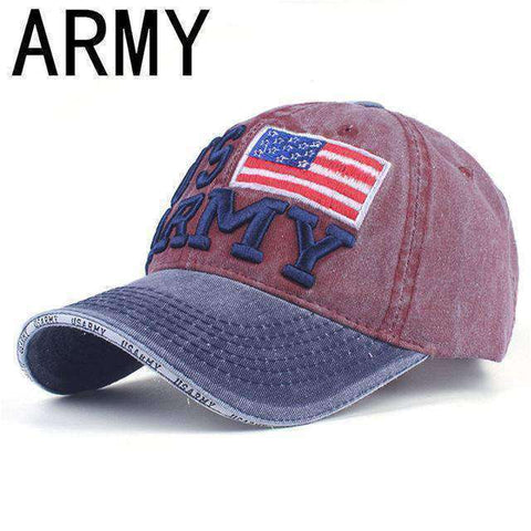 NY Army Baseball Cap-Caps-A WINE-Adjustable-InCrate.store