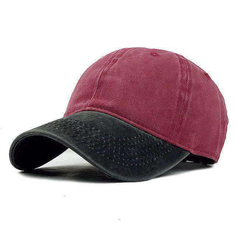 Washed Denim Cap-F240 Black Red-Adjustable-InCrate.store