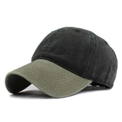 Washed Denim Cap-F240 Green Black-Adjustable-InCrate.store