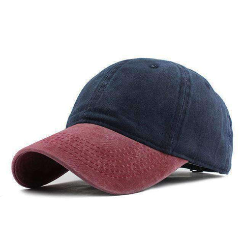 Washed Denim Cap-F240 Red Navy-Adjustable-InCrate.store