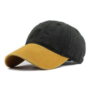 Washed Denim Cap-F240 Yellow Black-Adjustable-InCrate.store