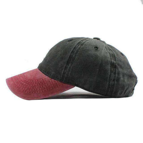 Washed Denim Cap-F240 Red Black-Adjustable-InCrate.store