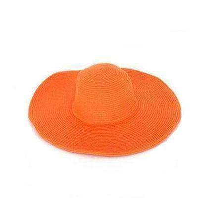 Large Brimmed Straw Hats-Hats for Her-Orange-InCrate.store