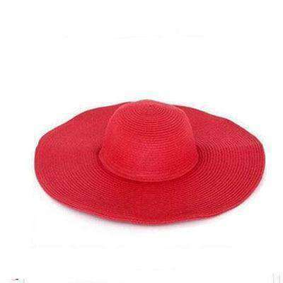 Image of Large Brimmed Straw Hats-Hats for Her-Red-InCrate.store