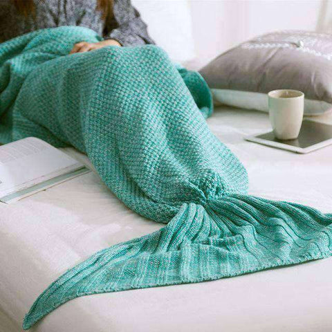 Image of Mermaid Blanket (Hand Knitted)-Gift Ideas-Light Green-90X170CM (ADULT)-InCrate.store