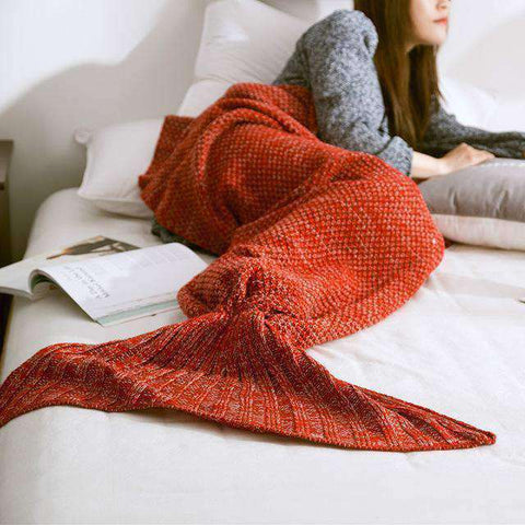 Image of Mermaid Blanket (Hand Knitted)-Gift Ideas-Red-90X170CM (ADULT)-InCrate.store