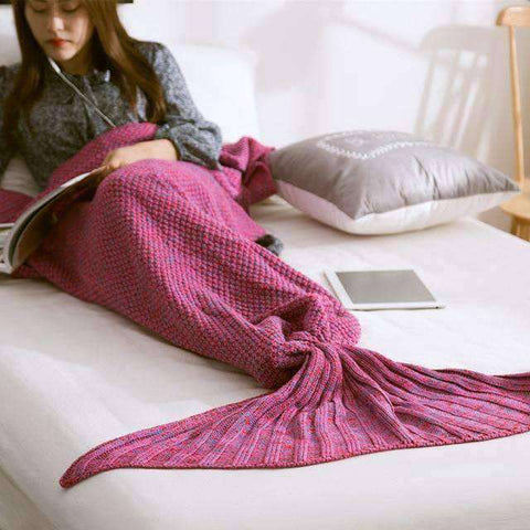 Image of Mermaid Blanket (Hand Knitted)-Gift Ideas-Violet-90X170CM (ADULT)-InCrate.store