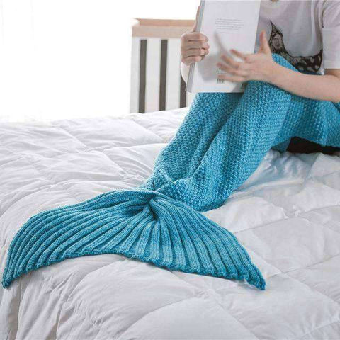 Image of Mermaid Blanket (Hand Knitted)-Gift Ideas-Blue-90X170CM (ADULT)-InCrate.store