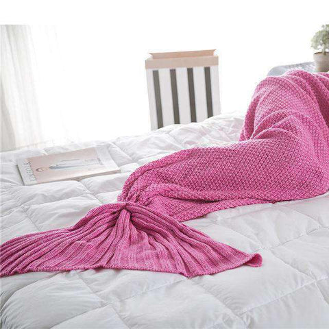 Mermaid Blanket (Hand Knitted)-Gift Ideas-Rose red-90X170CM (ADULT)-InCrate.store