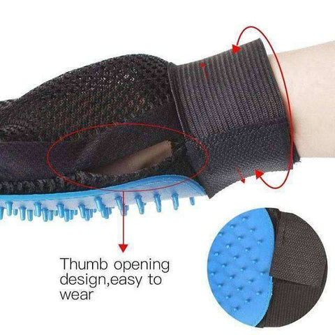Image of Pet Grooming Glove-Pet Supplies-Right Hand Blue-InCrate.store