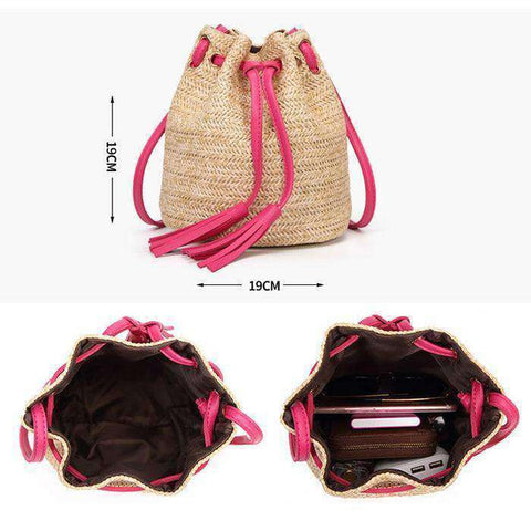 Straw Bucket Bag-Bags-Pink-InCrate.store