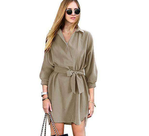 Image of Summer Trench Coat-Women's Clothing-Khaki-S-InCrate.store