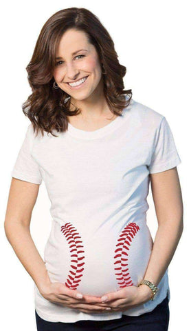 Image of Baseball Stitches Maternity T-shirt-Maternity-White-S-InCrate.store