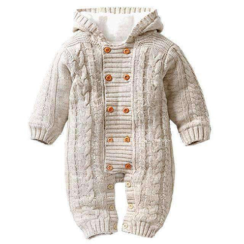 Image of Thick Hooded Baby Rompers-Babies & Kids-Beige-3M-InCrate.store