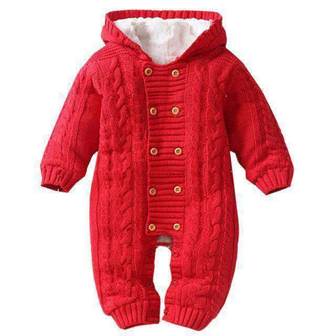 Image of Thick Hooded Baby Rompers-Babies & Kids-Red-3M-InCrate.store
