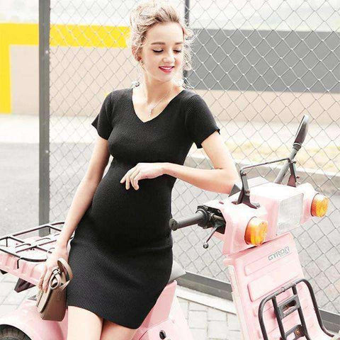 V-neck Short Sleeve Maternity Dress-Maternity-Black-S-InCrate.store
