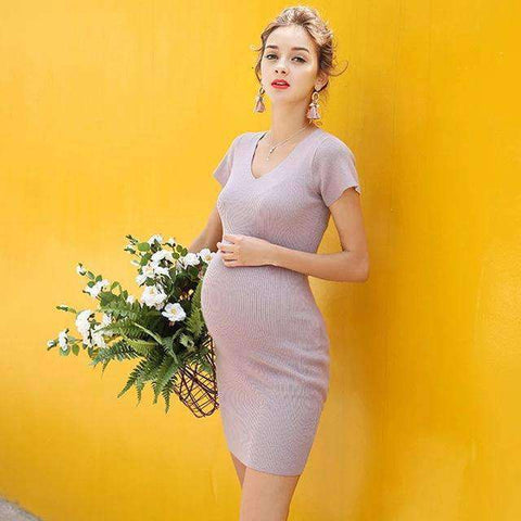 V-neck Short Sleeve Maternity Dress-Maternity-Lavender-S-InCrate.store