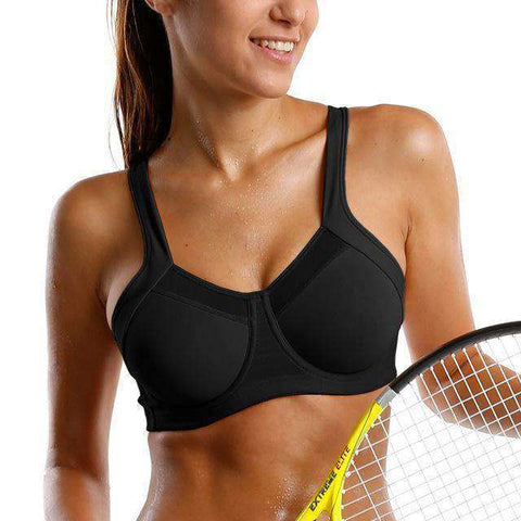 Image of High Impact Underwire Racerback Support Sports Bra-Sports Bra-Black01-B-32-InCrate.store