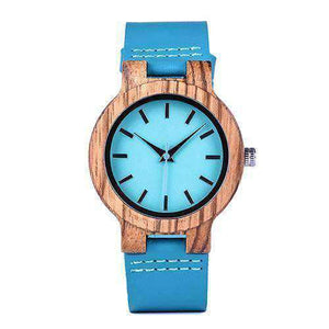 Turquoise Blue Wooden Lovers' Watches