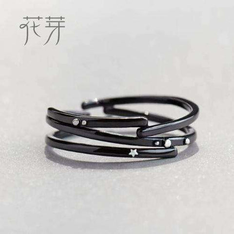 Milky Way and Star Trails Rings-Rings-Resizable-Trail ring-InCrate.store