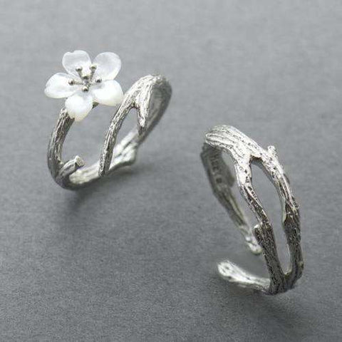 White Cherry Blossom Silver Ring-Rings-Resizable-White Cherry and Branch-InCrate.store