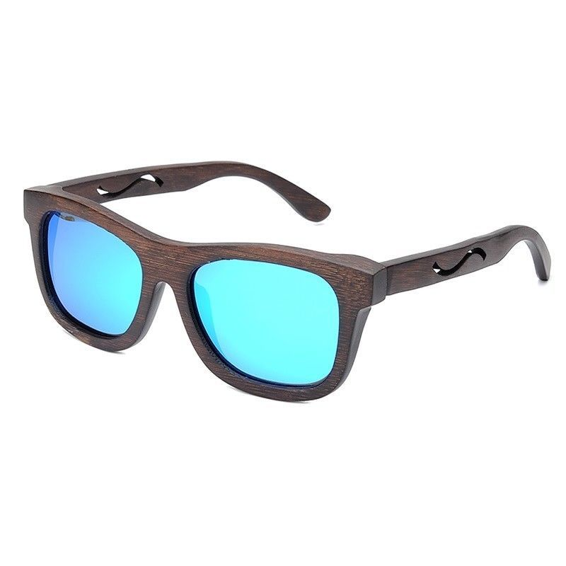 The Square Design Blue Wave Wood Sunglasses - EL CUADRADO OLA