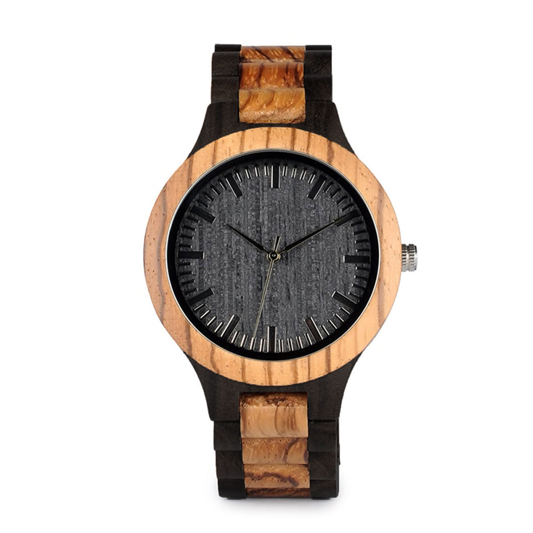 The Two Tone Natural Wood Watch Black Dial - DOS TONOS