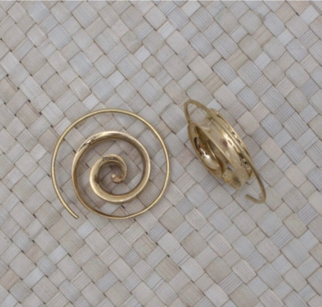 Bali Brass Small Spiral Handmade Earrings