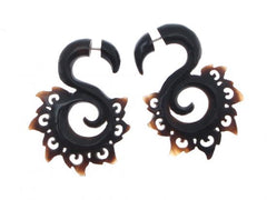 Horn Split Fake Plug Earrings Tribal Black Padma