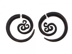 Horn Split Fake Plug Earring Swirl