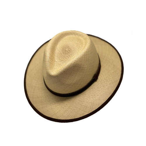 Aussie Suede Leather Ribbon and Trim Genuine Panama Hat