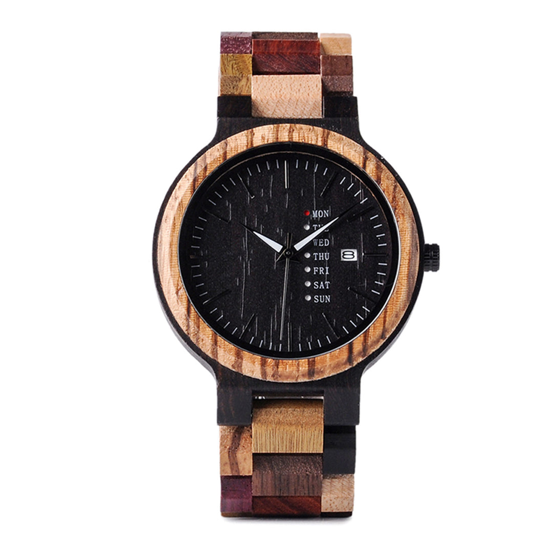 The Agenda Multi-Color Large Dial Wood Watch Black Dial - LA AGENDA