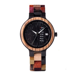 The Agenda Multi-Color Women's Unisex Wood Watch Black Dial - LA AGENDA