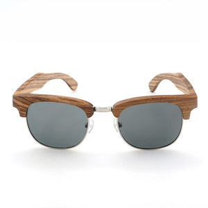 The Brow-line Natural Wood and Metal Sunglasses - LAS CEJAS