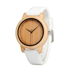 The Lively Wood Dial Silicone Band White - EL ALEGRE
