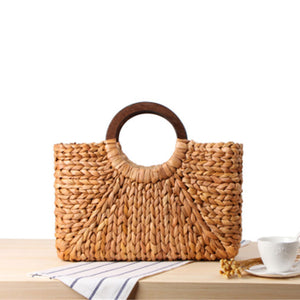Spacious Basket Straw Top Handle Purse | Comoda Cartera de Mano Canasta de Paja