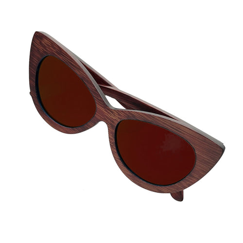 The Cat Eye Dark Wood Sunglasses - EL FELINO