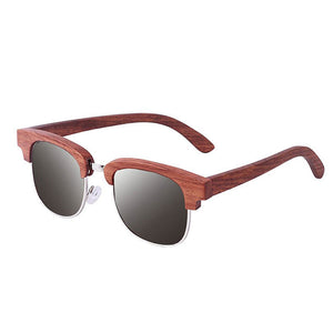 The Brow-line Mahogany Wood and Metal Sunglasses - LAS CEJAS